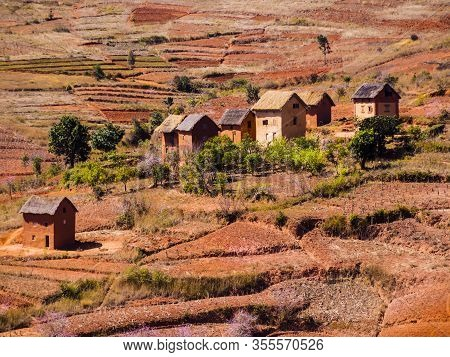 Panoramic View Of Typical Bara Village (with Houses Made Of Mud And Straw) In The Countryside Of The
