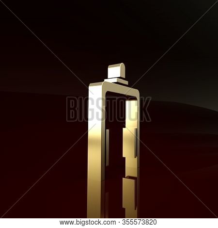 Gold Metal Detector In Airport Icon Isolated On Brown Background. Airport Security Guard On Metal De