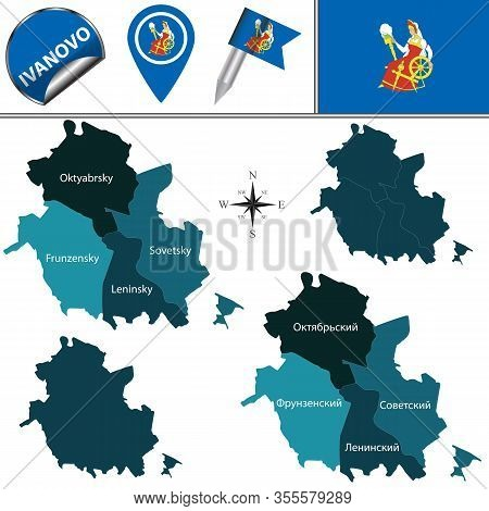 Vector Map Of Ivanovo, Russia With Named Districts. There Is Variation Of Map Where Districts Are Si