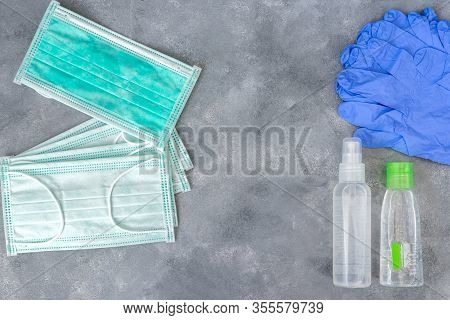 Protective Mask, Disinfectants And Gloves. Antivirus Health Protection