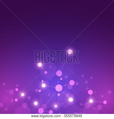 Abstract Background Of Molecular Structures. Molecules Or Dna Strand, Genetic Engineering, Neural Ne