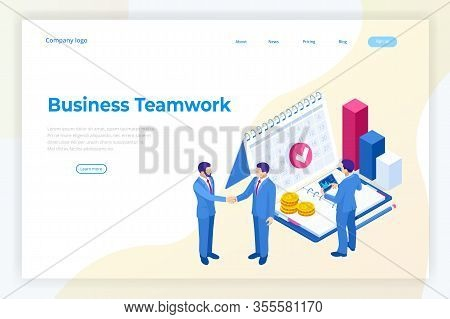 Isometric Business Concepts. Businessmen And Business Woman In Different Situations. Online Cooperat