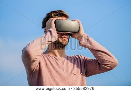 Virtual Reality Goggles. Handsome Man With Wireless Vr Glasses Headset. Game Online. Augmented Reali