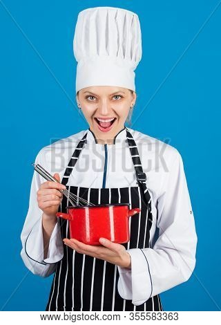 Woman In Apron And Hat Use Beater. Come To My Cooking Class. Culinary School Courses. Kitchen Utensi