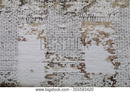 Brick Wall Blocked Windows Painted White Faded
