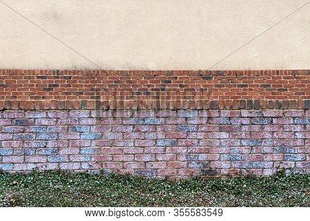 Retro Colorful Brick Garden Wall Grass Path