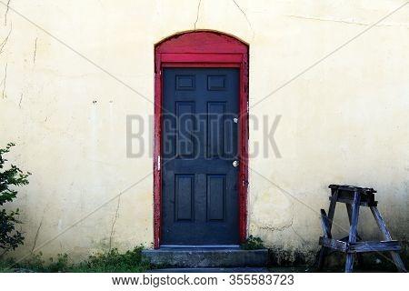 Black Door Red Trim Vintage Workshop Entrance