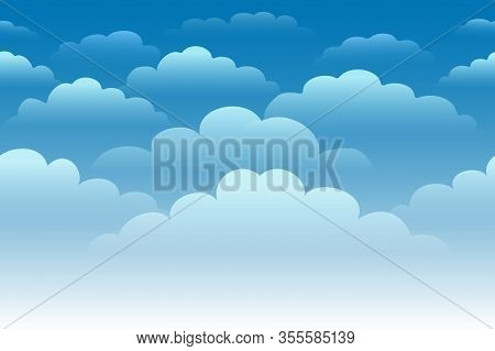 Cartoon Blue Cloudy Sky. Horizontal Seamless Pattern With White Fluffy Clouds. Vector Illustration.