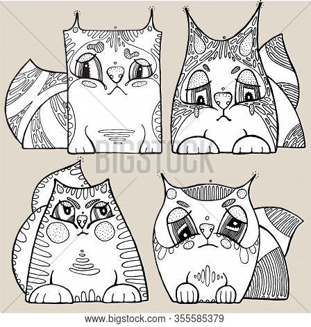 Cute Illustration Of Pretty Cats. Hand Drawn Vector Graphic.