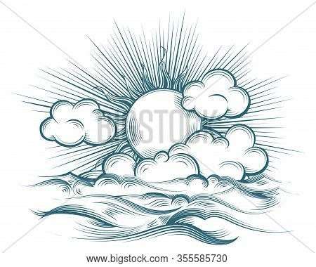 Sun And Sea Drawn In Engraving Style. Vintage Engraved Sky With Waves Texture And Sun Etching On Whi
