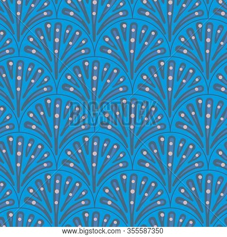 Peacock Tail Seamless Vector Blue Pattern. Feathers Ornamental Surface Print Design. Great For Backg