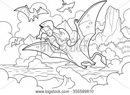 Prehistoric Dinosaur Pterodactyl Fishing, Coloring Book, Funny Illustration