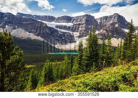 The Rocky Mountains.  Crowfoot Glacier & Crowfoot Mountain  From The Hiking Trail To Helen Lake. Ban