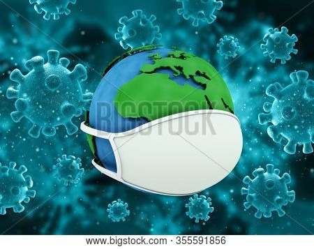 3D render of a medical background with virus cells and globe with face mask depicting global pandemic
