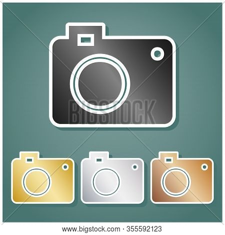 Digital Camera Sign. Set Of Metallic Icons With Gray, Gold, Silver And Bronze Gradient With White Co