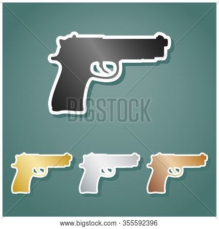 Gun Sign Illustration. Set Of Metallic Icons With Gray, Gold, Silver And Bronze Gradient With White