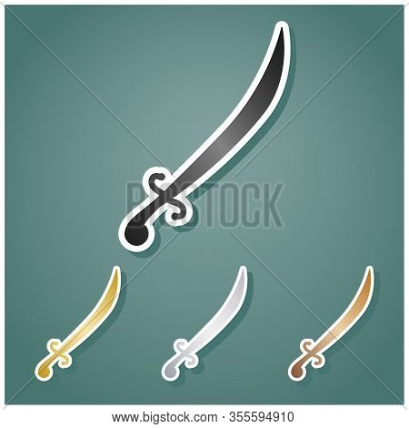 Sword Sign Illustration. Set Of Metallic Icons With Gray, Gold, Silver And Bronze Gradient With Whit