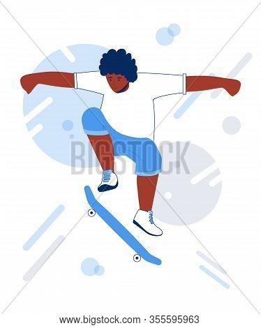Skateboarding Teen Collection. Young African Man Riding On A Skateboard.