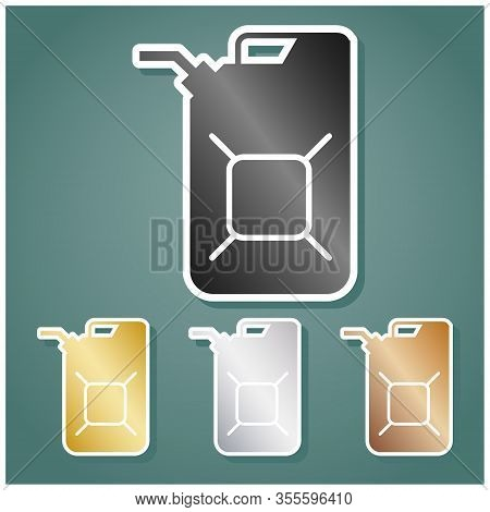Jerrycan Oil Sign. Jerry Can Oil Sign. Set Of Metallic Icons With Gray, Gold, Silver And Bronze Grad