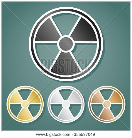 Radiation Round Sign. Set Of Metallic Icons With Gray, Gold, Silver And Bronze Gradient With White C