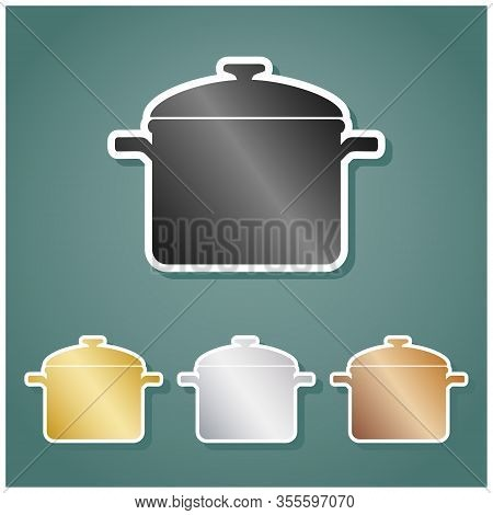 Cooking Pan Sign. Set Of Metallic Icons With Gray, Gold, Silver And Bronze Gradient With White Conto