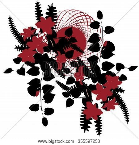 Beautiful Delicate Ikebana With Black Leaves And Red Flowers In Entwined Circle