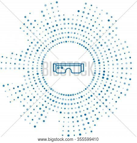Blue Line Smart Glasses Mounted On Spectacles Icon Isolated On White Background. Wearable Electronic