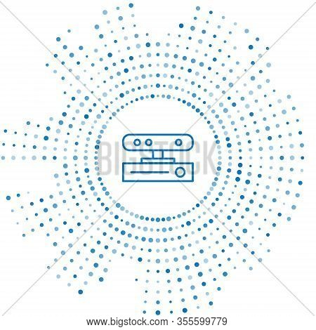 Blue Line Motion Sensor Icon Isolated On White Background. Abstract Circle Random Dots. Vector Illus