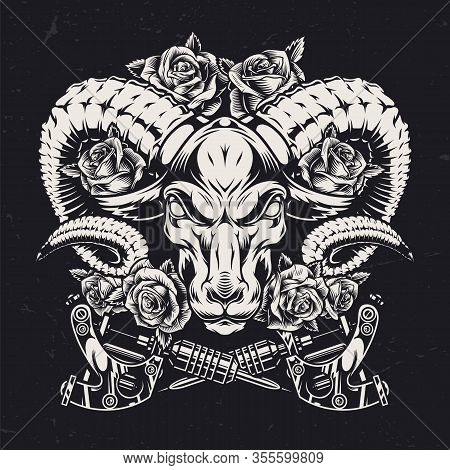 Cruel Ram Head Vintage Template With Rose Flowers And Crossed Tattoo Machines In Monochrome Style Is