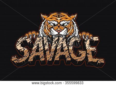 Angry Tiger Holding Savage Lettering With Cracked Desert Sand Texture In Vintage Style Isolated Vect