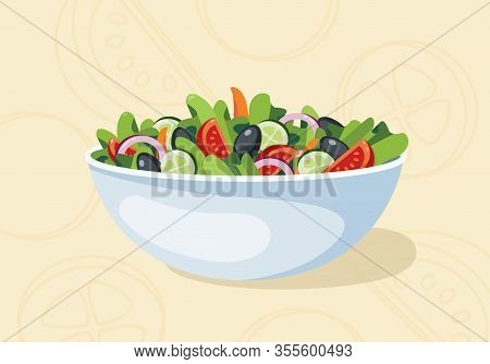 Fresh Vegetable Salad With Background Vector Salad