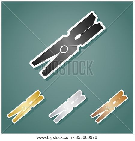 Clothes Peg Sign. Set Of Metallic Icons With Gray, Gold, Silver And Bronze Gradient With White Conto
