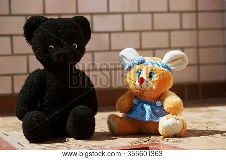 Soft Toy Of The Mouse And Bear. Vintage