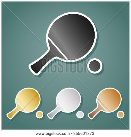 Ping Pong Paddle With Ball. Set Of Metallic Icons With Gray, Gold, Silver And Bronze Gradient With W