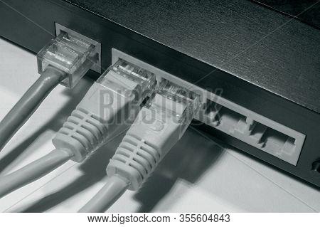 Ethernet Rj45 Connection Connectors. Internet Connection. Data Transmission On A Local Network. Digi