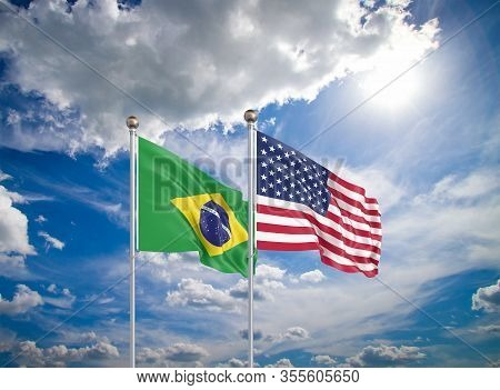 United States Of America Vs Brazil. Thick Colored Silky Flags Of America And Brazil. 3d Illustration