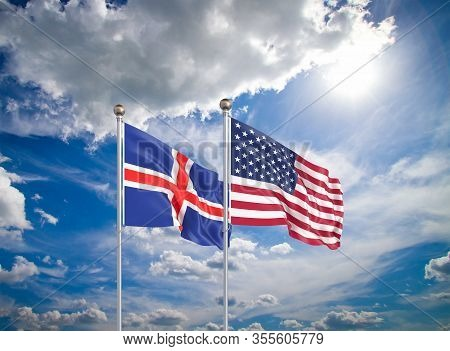 United States Of America Vs Iceland. Thick Colored Silky Flags Of America And Iceland. 3d Illustrati