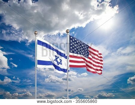 United States Of America Vs Israel. Thick Colored Silky Flags Of America And Israel. 3d Illustration