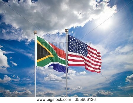 United States Of America Vs South Africa. Thick Colored Silky Flags Of America And South Africa. 3d
