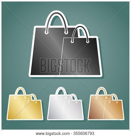 Shopping Bags Sign. Set Of Metallic Icons With Gray, Gold, Silver And Bronze Gradient With White Con