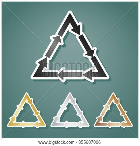 Plastic Recycling Symbol Pvc 3 , Plastic Recycling Code Pvc 3. Set Of Metallic Icons With Gray, Gold