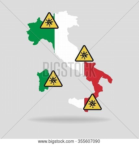 Map With The Flag Of Italy And Pandemic Stop Novel Coronavirus Outbreak Covid-19 2019-ncov Sign.