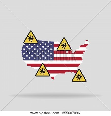 Map With The Flag Of Usa And Pandemic Stop Novel Coronavirus Outbreak Covid-19 2019-ncov Sign.