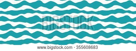 Wavy Lines Vector Seamless Border. Chunky Uneven Wide Horizontal Sea Wave Banner. Abstract Marine Ge