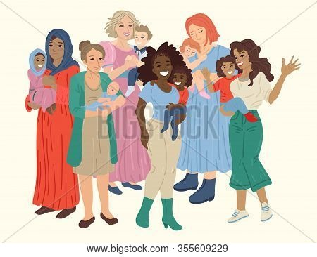 Multinational Group Of Happy Mothers Hold Babies In Arms. Vector Illustration