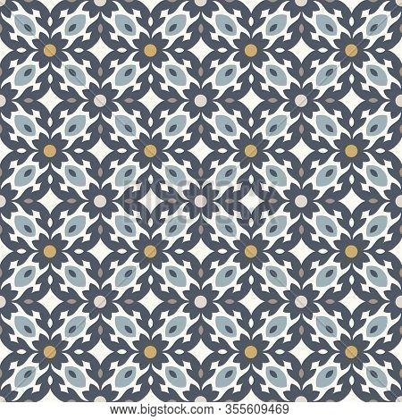 Floor Tiles - Seamless Vintage Pattern With Quatrefoils. Seamless Vector Background. Plain Colors -