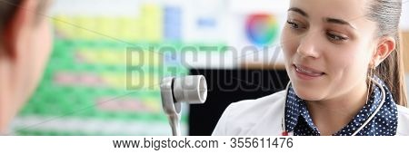 Close-up View Of Clinical Worker Holding Medical Tool For Diagnostic. Scheduled Check-up At Hospital