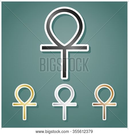 Ankh Symbol, Egyptian Word For Life, Symbol Of Immortality. Set Of Metallic Icons With Gray, Gold, S