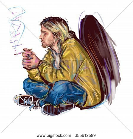 Kaliningrad, Russia - January 24, 2020 : Kurt Donald Cobain (february 20, 1967 April 5, 1994) An Ame