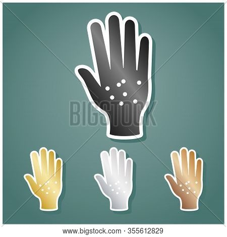 Dirty Hands Sign. Set Of Metallic Icons With Gray, Gold, Silver And Bronze Gradient With White Conto